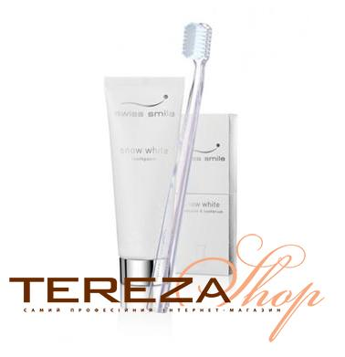 WHITE TOOTHPASTE & TOOTHBRUSH SWISS SMILE | Tereza Shop